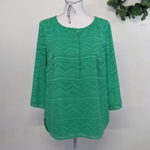 Talbots Popover Blouse in Green Size M